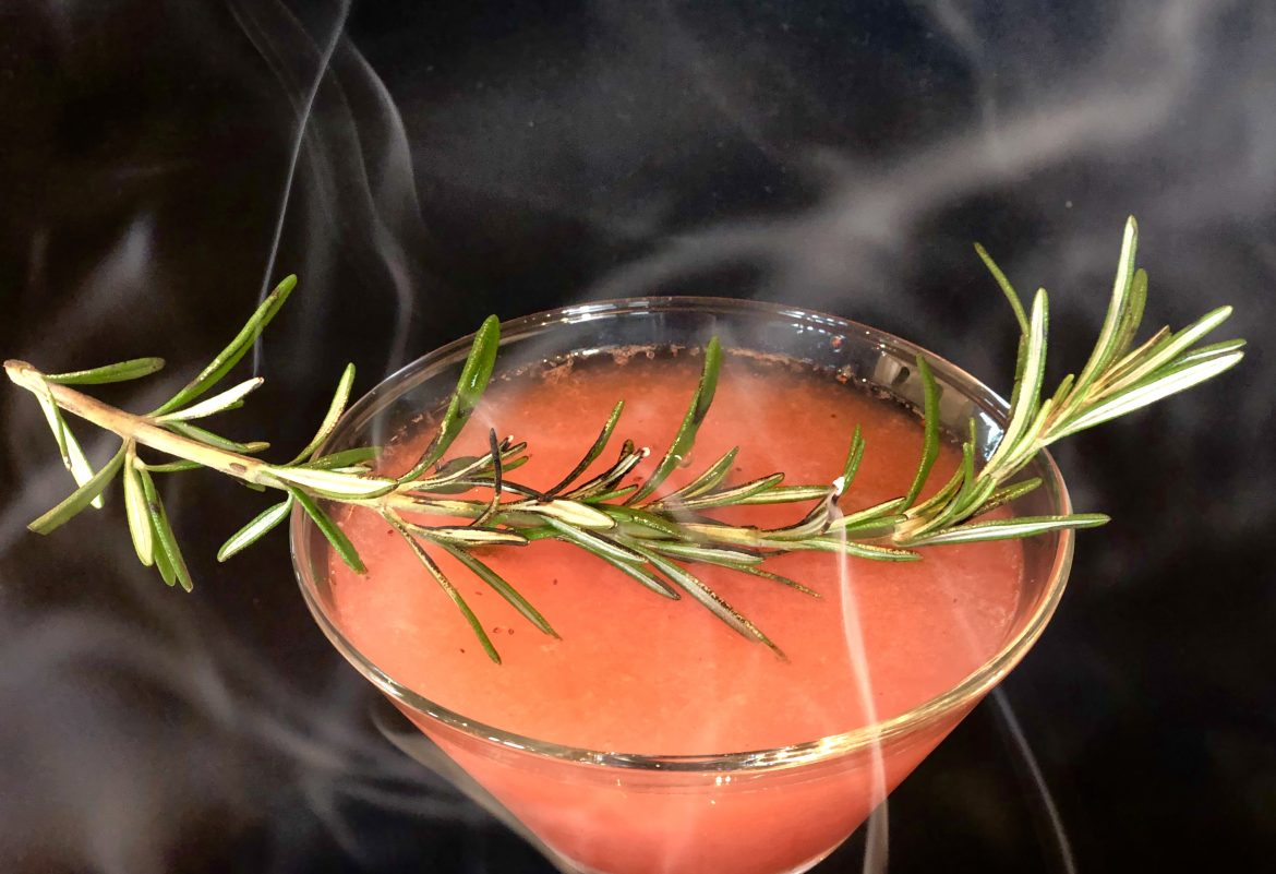 Up in Rosemary Cocktail with smoked rosemary